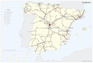 Mapa Ferroviario De España.Transporte Por Ferrocarril