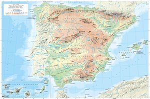 Mapa De España Físico.Cartografia General De Espana